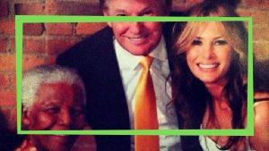 בני הזוג מלניה ודונלד טראמפ עם האורח נלסון מנדלה